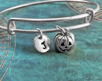 Jack-O-Lantern Bangle Bracelet Pumpkin Bracelet Pumpkin Bangle Silver Jack o Lantern Stackable Charm Bracelet Expandable Personalized Bangle