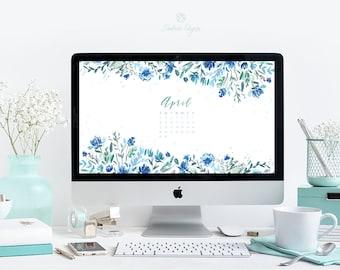 Desktop Wallpaper Watercolor Floral April Calendar | Desktop Background | Instant Download