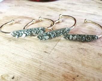 Pyrite Dust Gold Cuff Bracelet