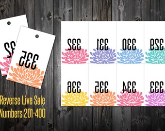 Live Sale Numbers 201-400 (Reverse) - Blossom