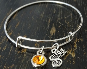 Special Mom Bangle Bracelet, Adjustable Expandable Bangle Bracelet, Mom Charm Bracelet,Mom Pendant,Mom Jewelry,Mother Bangle,Mother Gifts