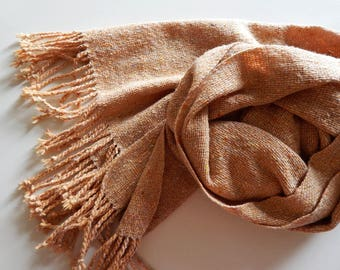 Woven tweed scarf beige merino scarf, light-beige scarf, handwoven tweed wool wrap, women's scarf, apricot scarf, men's scarf, gift for her