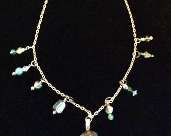 Titanium Quartz, Mother of Pearl, and Crystal Station Necklace  Custom Designed and Handmade by Andrea Comsky