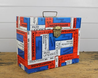 Industrial Red White Blue Metal File Box Storage Container, Portable Handle, Industrial Storage, Vintage Porta File by Ballonoff, Taxes Bill