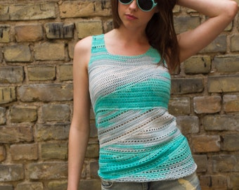 Crochet Top Pattern PDF - Slide Tank Top crochet pattern- Womens Girls Summer sleeveless tank top crochet pattern in English