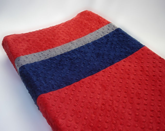 Red Changing Pad Cover with Stripes