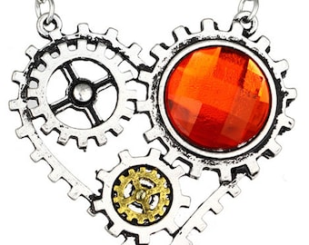 Vintage Steampunk Diamante Mechanical Pendant Necklace