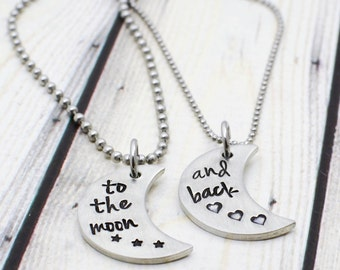 Hand Stamped Couples Necklace Set - Boyfriend Girlfriend Necklace for Couples - Matching Couple's Jewelry - Anniversary Gift for Her
