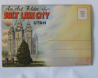 Vintage Salt Lake City Utah Postcard booklet c1948