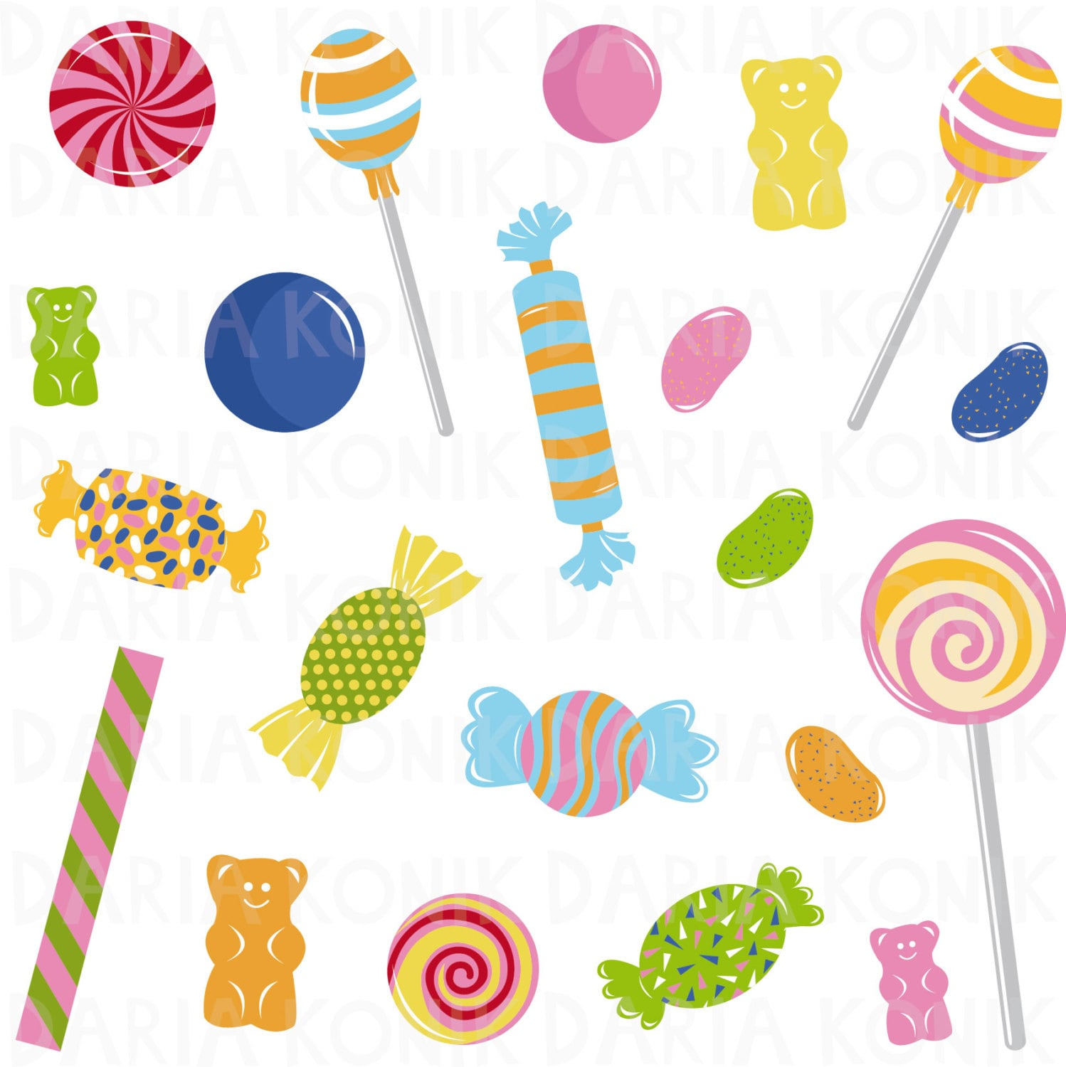 Candy Clip Art Set Sweets Clipart Jelly Beans Gummy Bears