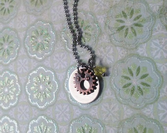 Stainless steel gear necklace gear charmed necklace
