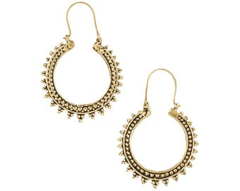 Gold moon earrings- Antique Finish Moon Earrings -SALE Hoop Earrings-Boho Tribal Jewelry-Ornate Hoop Earrings-coachella earring ZH0426G