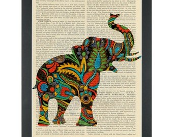 Psychedelic 1960's paisley elephant yeah man Dictionary Art Print