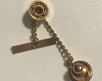 Vintage Round Gold Tone Geometric Tie Tack Gift for Him Tie Accessory