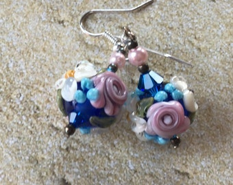 Blue Lampwork Floral Earrings with White and Pink Flowers, Lampwork Jewelry, Gift For Her