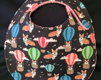 Corgis in Balloons Print Baby Bib
