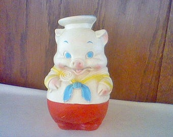 Vintage Edward Mobley Co 1958 Sailor Pig rubber squeak baby toy mfg by Arrow Rubber & Plastic Corp