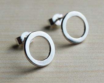 Silver Hoop Studs - Sterling Silver Circle Earrings