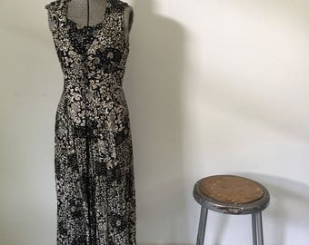 Vintage LASA Dress • 1990s Dress • Grunge Revival Style Button Up Long Black And White Tribal Print Layered Maxi •Womens Size Small Medium