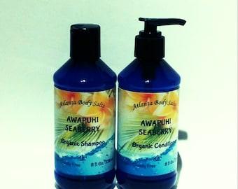 Awapuhi Seaberry set organic shampoo organic conditioner vegan shampoo vegan hair conditioner
