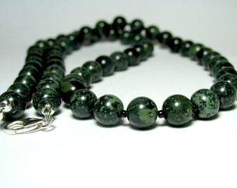 Mens Rhyolite Necklace, Mens Beaded Necklace, Necklace for Men, Mens Jewellery, Silver Necklace, Gemstone Necklace,