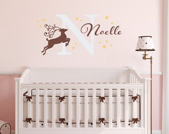 Reindeer Decal Set with Name & Initial - Personalized Girl Wall Decal - Reindeer - Stars Decal - Large