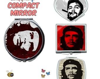 Che guevara compact mirror, makeup mirror, cosmetic mirror, portable mirror, double sided compact makeup mirror, purse mirror