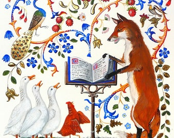 Fox and geese, Geese choir, limited stock, christmas card, medieval gothic style, illuminated letters, by artist, unique and beautiful,