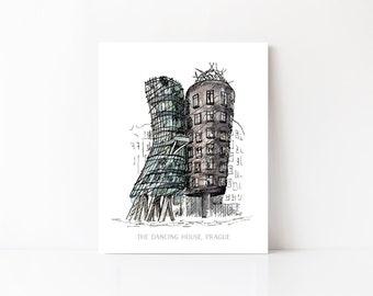 Prague, Czech Republic, The Dancing House Art Print, Frank Gehry Architecture Art, Prague Watercolor, Architectural Prints, European Art