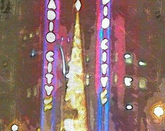 Christmas at Radio City Music Hall, Times Square, NYC, printable art, instant download