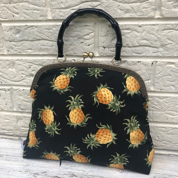 Pineapple Tiki Print Handbag Rockabilly Pinup 1950's Inspired