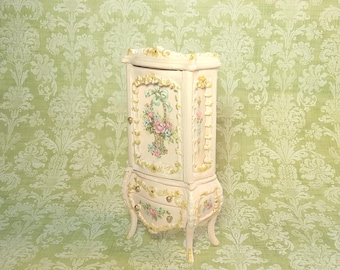 "Half Scale 1:24 French Cottage Cabinet - hand-painted Robin's Egg or Blush Pink 3"" Rose Basket - Jill Dianne Art Dollhouse Miniatures"
