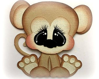 premade paper piecing monkey scrapbooking embellishment by My tear bears by Kira