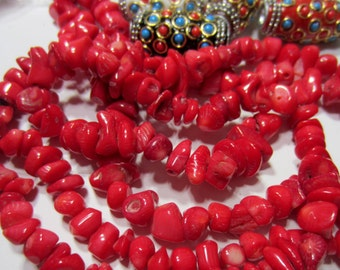 Red coral beads nugget strand bamboo coral chip beads vibrant deep red beads FM-C4