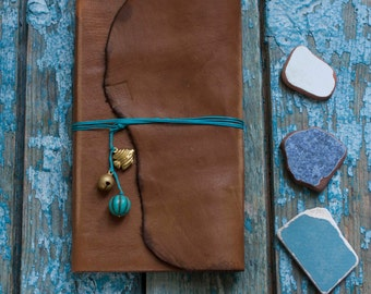 Travel Journal, Travel notebook, Handmade Amber Leather Travel Journal beads