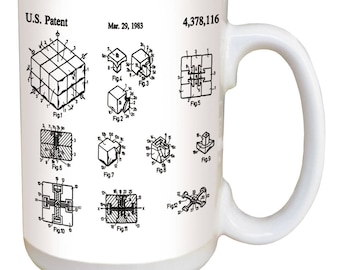 Rubik's Cube Mug. Vintage patent art from the archives of the United States Patent Office. Large 15 ounce ceramic mug w/ comfortable handle