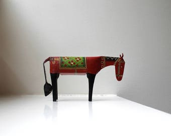 Vintage Folk Art Metal Horse Figurine Painted Brutalist Primitive Sculpture Rustic Handmade Decorative