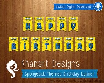 "Instant Download: ""Spongebob"" Themed Birthday Banner"