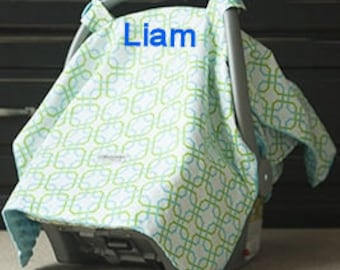 Green Blue Baby Car Seat Canopy Baby Car Seat Cover  Blue Minky Blanket Personalized blanket Custom Canopy Baby Shower Blue Baby Car Seat
