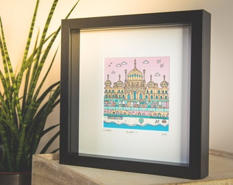 Brighton Pavilion Art. Giclee print in 23cm x 23cm box frame. Ready to hang.