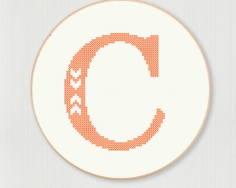 Cross stitch letter C pattern with chevron detail, instant digital download