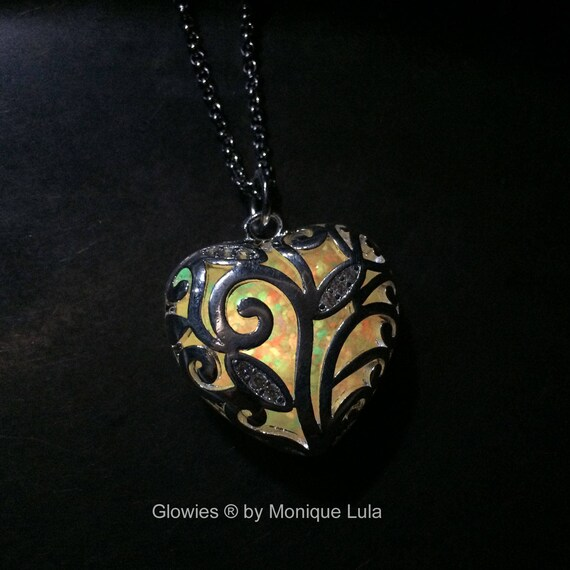 Rainbow Glowing Heart of Winter Magical Glow Necklace