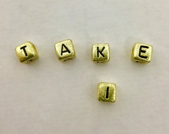 Beads, Letter Beads, Alphabet Beads, Alphabet Bead Mix, T-A-K-E-I Letter Beads, K-A-T-I-E Letter Beads, Antique Gold Letter Beads