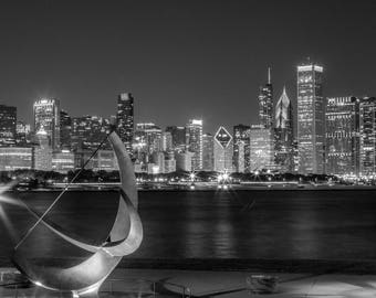 Chicago Skyline At Night in Black and White