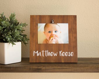New Dad Gift - Personalized Baby Gift - Baby Shower Gift - New Parent Gift - Rustic Nursery Decor- Personalized Picture Frame - New Mom Gift