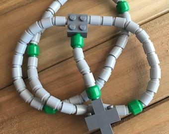 Rosary made of Lego Bricks - Light Gray, Green & Dark Gray Catholic Rosary