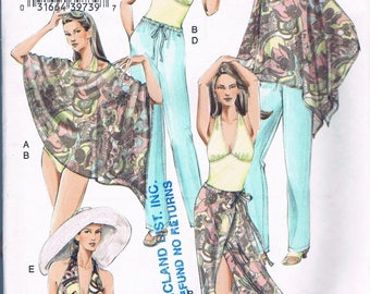 Size 12-16 Misses' Swimsuit Sewing Pattern - Halter Swim Suit Pattern - Sarong Skirt Pattern - Sun Hat Pattern - Pull On Pants - Vogue V8095