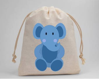 Baby Shower, Baby Boy, Elephant, Blue, Muslin Bags, Drawstring Bags, Candy Bags, Treat Bags, Favor Bags, Goodie Bags