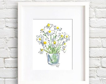 Daisies Art Print - Daisy Flower Wall Decor - Floral Watercolor Painting