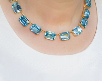 Aquamarine Anna Wintour Necklace, Crystal Collet, Riviere, Swarovski Necklace, Georgian Collet, Reproduction Georgian Necklace